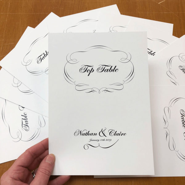 classic wedding table name cards