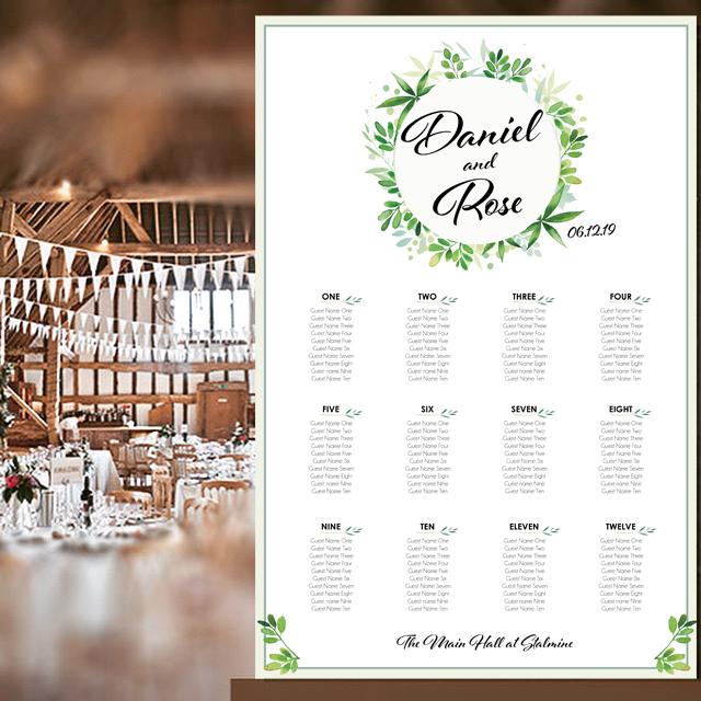 Plan A Wedding.Ch02 Classic Wedding Wreath Table Plan